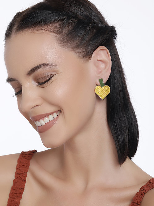 Yellow Gold Plated Heart Shaped Handcrafted Drop Earrings