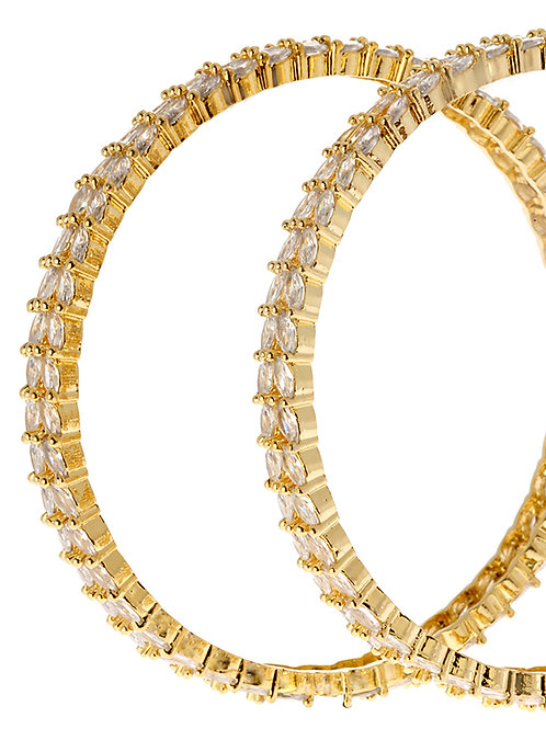 Set Of 2 Gold-Plated & White AD-Studded Handcrafted Bangles
