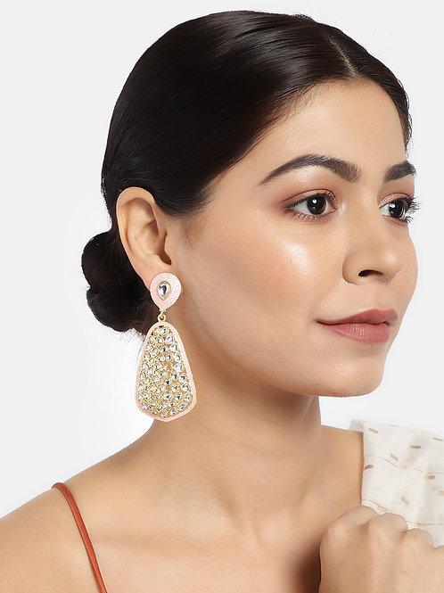 Gold-Plated & Pink Teardrop Shaped Drop Earrings
