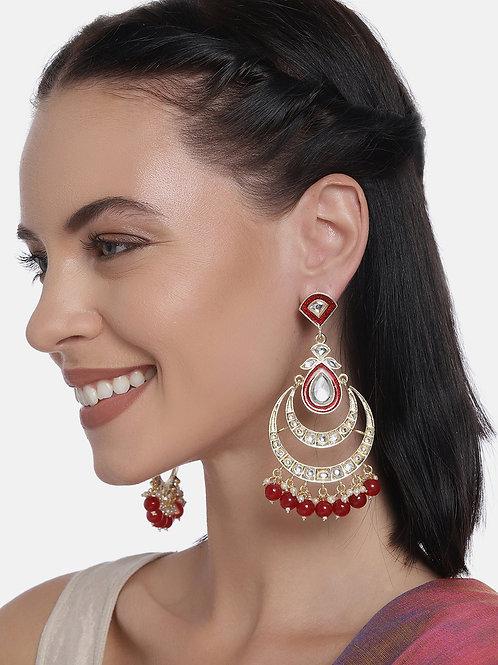 Red & Gold Plated Kundan Handcrafted Chandbali Earrings