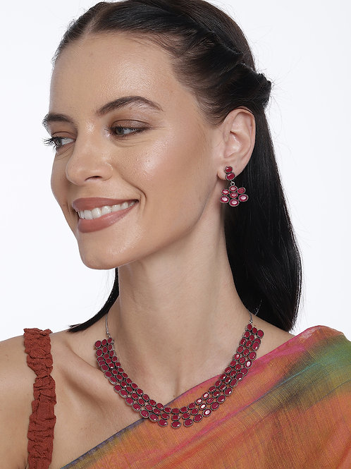 Silver-Plated Red Oxidized Stone Studded Jewellery Set