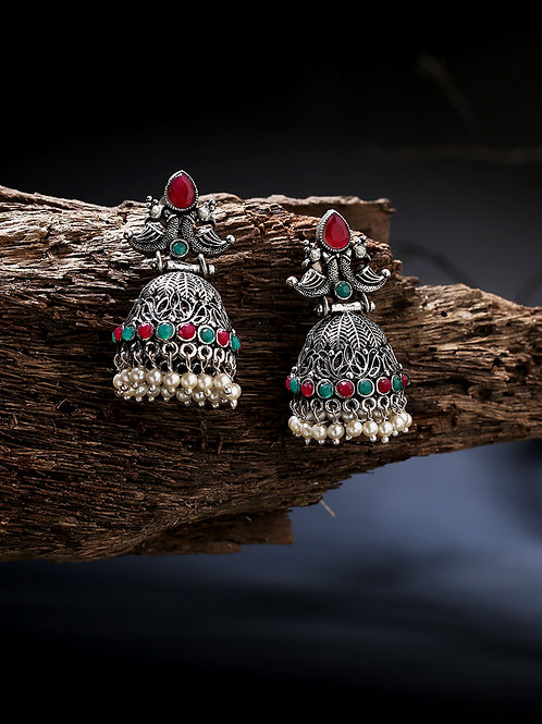 Silver-Toned & Red Silver Plated Dome Shaped Drop Earrings