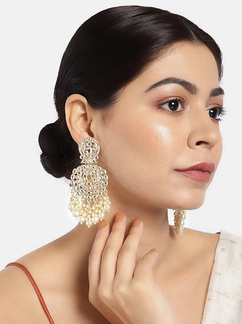 Gold-Plated Kundan Studded Circular Drop Earrings