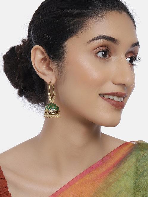 Gold-Plated & Green Kundan Studded Classic Jhumkas