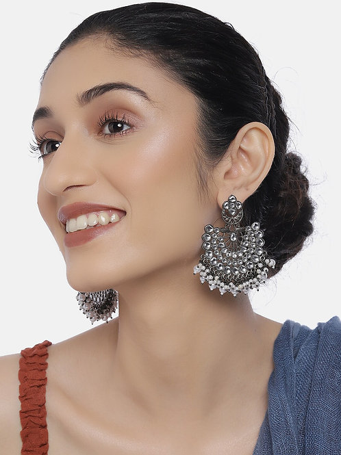 Silver-Toned Oxidized Rhodium-Plated Handcrafted Crescent Shaped Drop Earrings