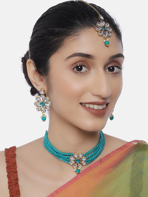 Women Gold-Plated & Turquoise Blue Jewellery Set With Maangtika