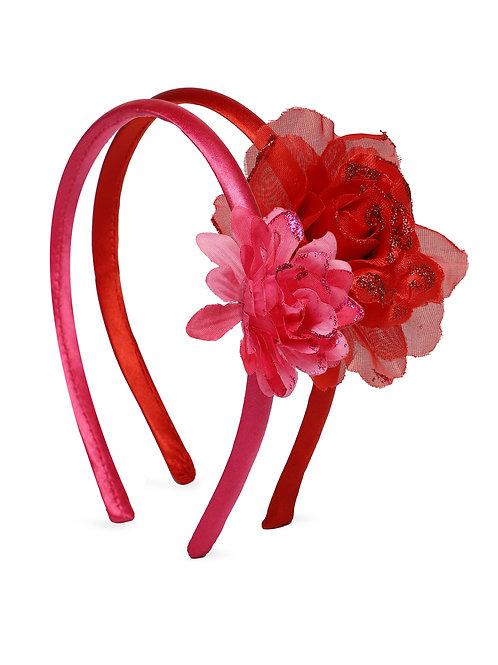 Girls Set of 2 Pink & Red Embellished Hairbands