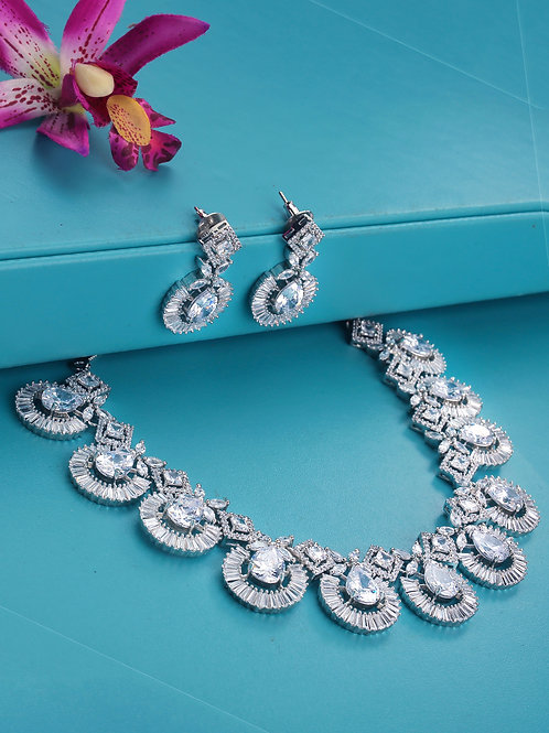 Silver-Plated American Diamond Handcrafted Jewellery Set