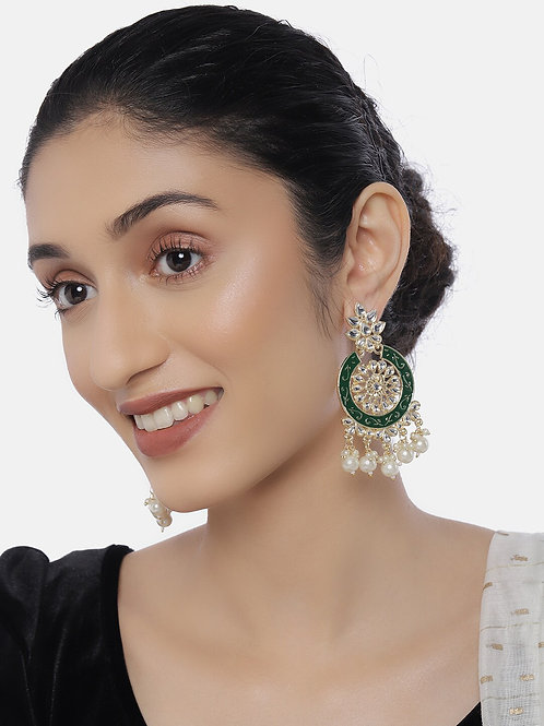 Green Gold-Plated Kundan-Studded Circular Drop Earrings