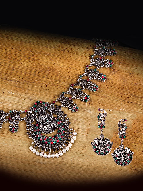 Silver Oxidized Laxmi Pendant Necklace with Drop Earrings