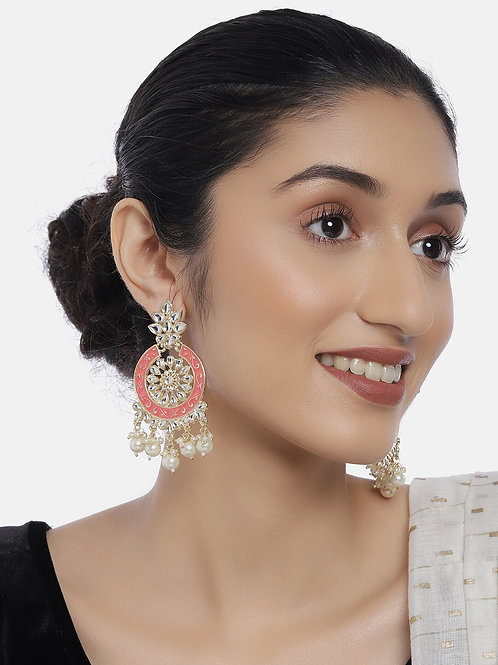 Coral Gold-Plated Kundan-Studded Circular Drop Earrings