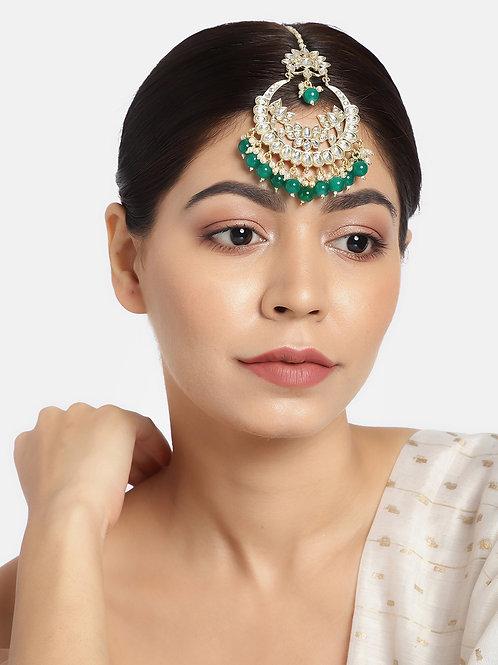 Women Gold-Plated & Green Kundan-Studded Handcrafted Maang Tikka