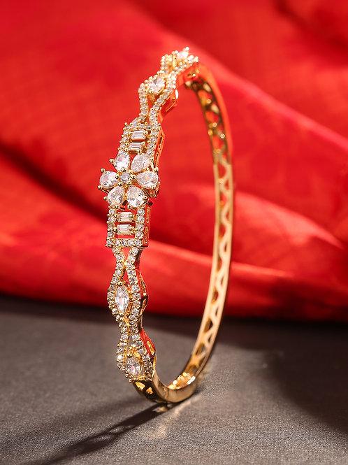 Gold-Plated Studded Handcrafted Bangle-Style Bracelet