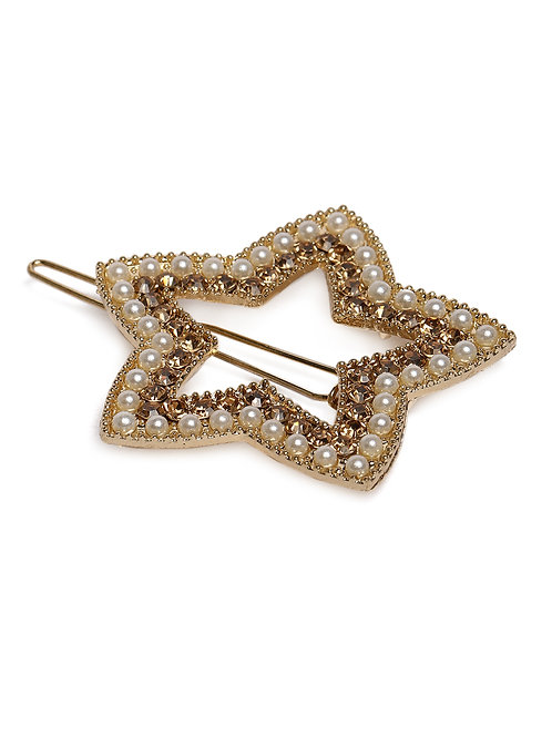 Set of 2 Gold-Toned Star-Shaped Embellished Hair Pins