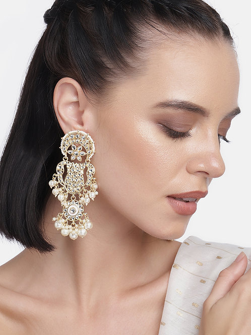 Gold-Plated & White Kundan Studded Classic Handcrafted Drop Earrings