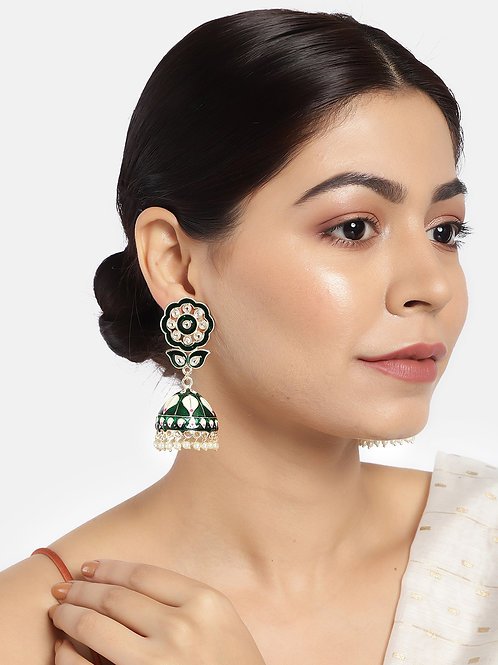 Green & Gold-Plated Kundan Studded Hand Painted Dome Shaped Jhumkas