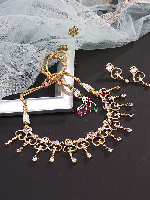 Gold-toned Gold-Plated American Diamond Studded Handcrafted Jewellery Set