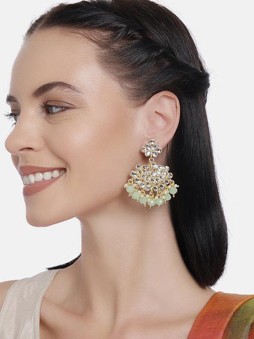 Gold-Plated & Green Classic Kundan Drop Earrings