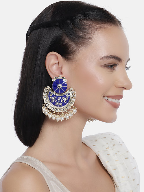 Blue Gold-Plated Handcrafted Enamelled Kundan & Pearl Classic Chandbalis
