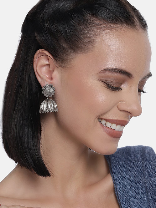 Silver-Plated Floral Oxidized Drop Earrings