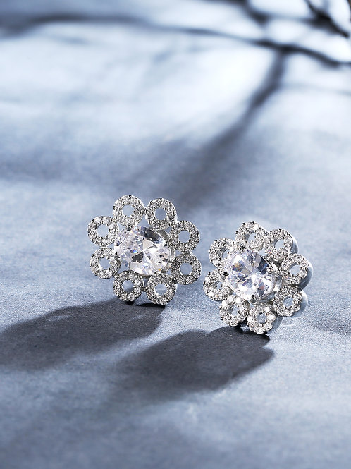 Silver-Plated Handcrafted Studded Floral Studs