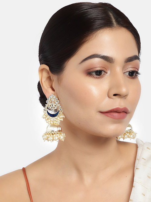 White & Navy Blue Gold-Plated Hand Painted Dome Shaped Jhumkas