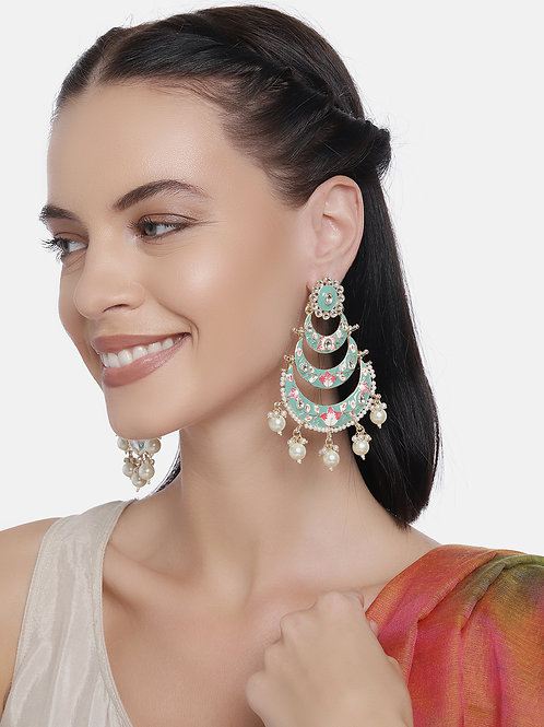 Gold-Plated & Green Crescent Shaped Handcrafted Drop Earrings