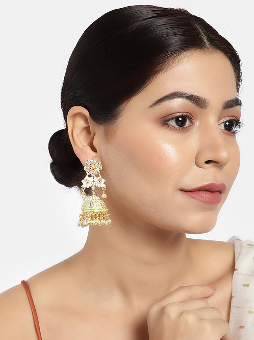 Green & Gold-Plated Handcrafted Enamelled Jhumkas