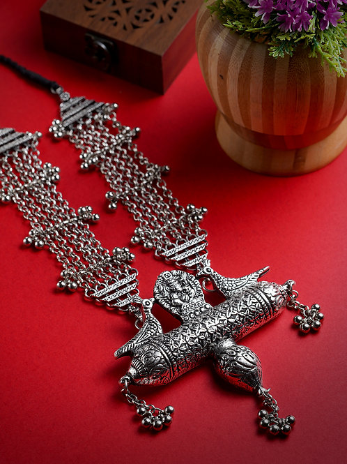 Women Silver-Plated Oxidised Peacock Necklace