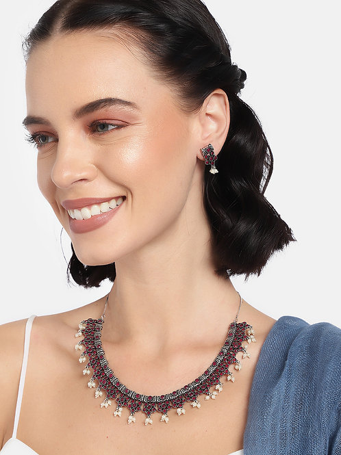 Women Oxidized Silver-Toned & Red Floral Jewellery Set