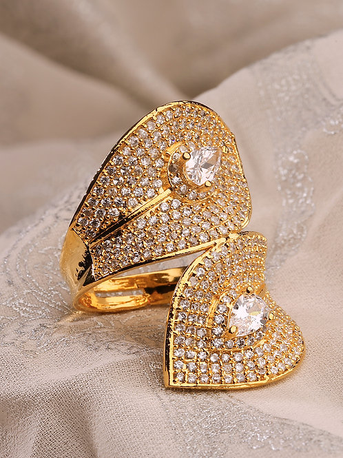 Women Gold-toned Gold Plated AD Studded Handcrafted Finger Ring