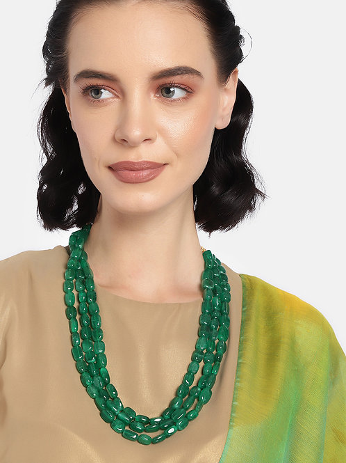 Women Green Three-Layered Necklace
