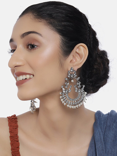 Oxidized Rhodium-Plated Handcrafted Kundan & Pearl Crescent Shaped Drop Earrings