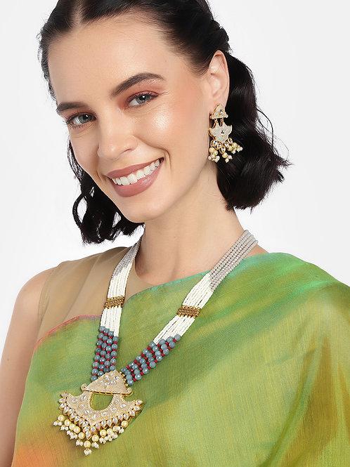 Laida Women Grey & White Gold Plated Jewellery Set