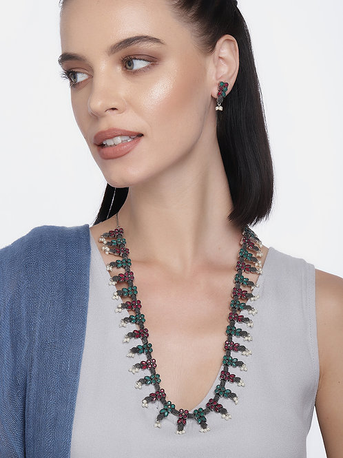 Multicoloured Silver-Plated Ruby & Emerald Stone Studded Jewellery Set
