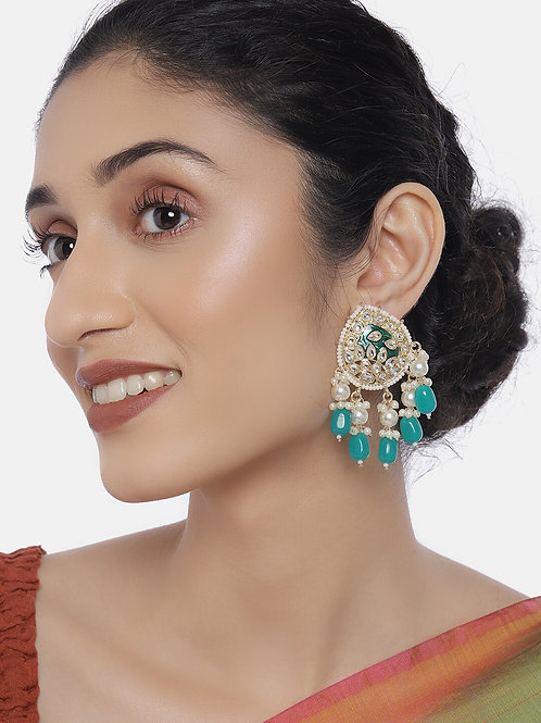 Green & Gold-Plated Kundan Studded Classic Drop Earrings