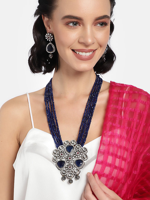 Women Blue & Silver-Toned Rhodium Plated Embellished Jewellery Set
