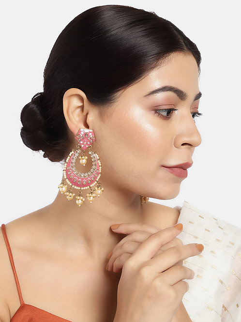 Pink & Gold-Plated Handcrafted Enamelled Chandbalis