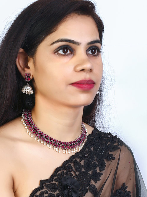 Ruby Silver Oxidized Double Tear Drop Necklace with Jhumka Earrings