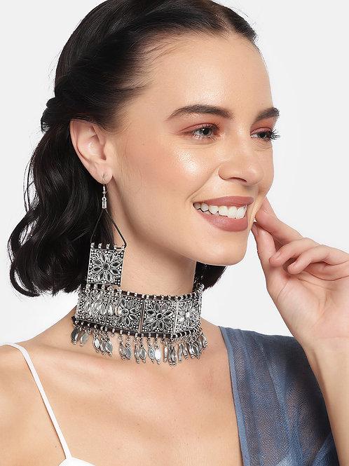 Oxidized Silver-Toned Mirror Work Jewellery Set