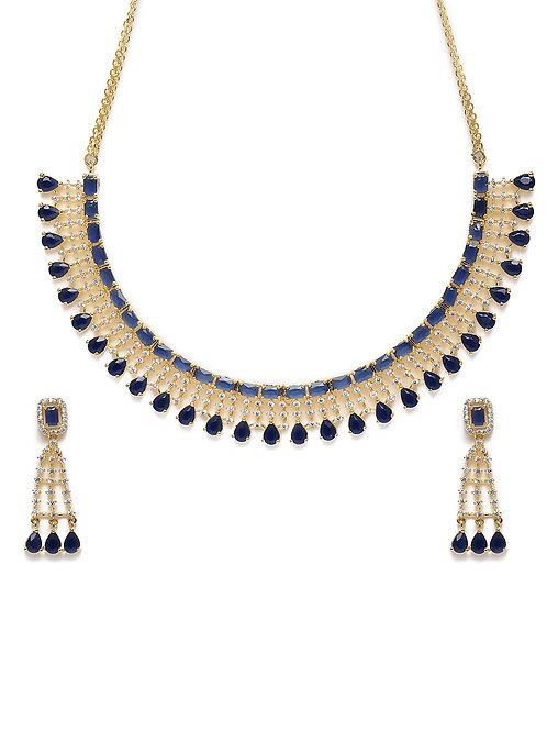 Blue Gold-Plated American Diamond Studded Handcrafted Jewellery Set