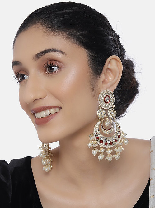Gold-Plated Double Layered Classic Drop Earrings