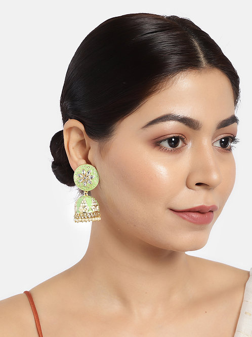 Sea Green & Gold-Plated Dome Shaped Jhumkas