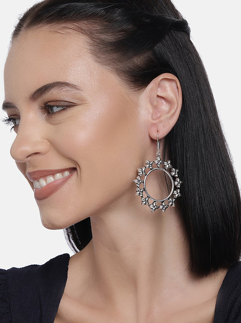 Silver-Plated Circular Oxidized Drop Earrings