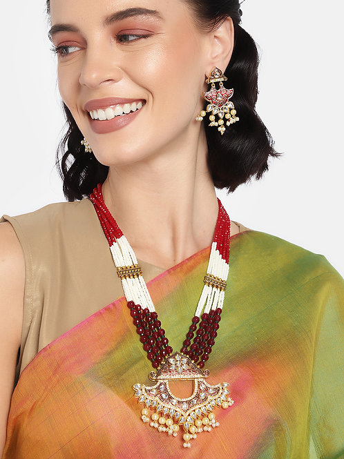 Women Gold-Plated & Maroon Layered Jewellery Set