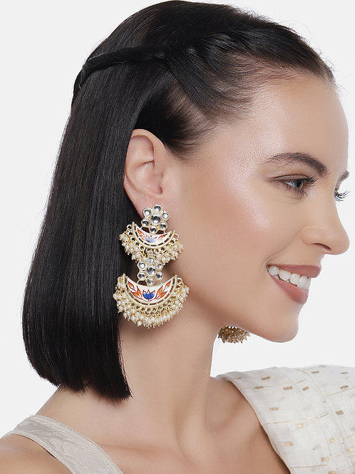 Pink & Cream-Coloured Gold Plated Enamelled Hand Painted Layered Drop Earrings