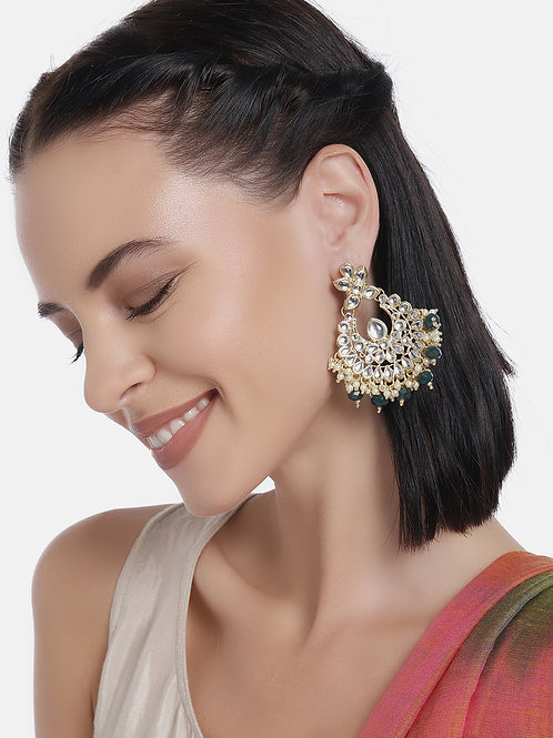 Gold-Plated & Green Embellished Classic Chandbalis