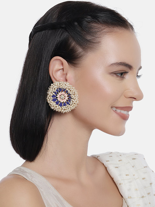 Blue Gold-Plated Enamelled Handcrafted Pearl Oversized Circular Studs
