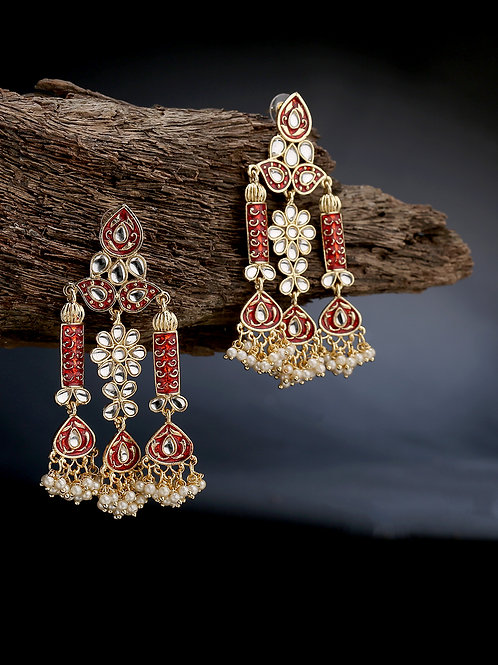 Gold-Plated & Red Kundan & Pearls Studded Contemporary Drop Earrings