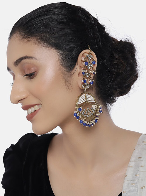 Blue Gold-Plated Classic Handcrafted Drop Earrings with Earchains